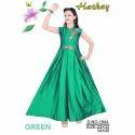 Girls Sleeveless Green Designer Gown
