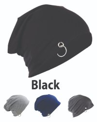 Ring Beanie Cotton Black Caps