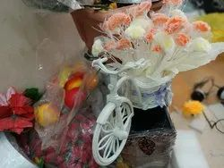 Plastic Mixed Artificial Flower Bicycle