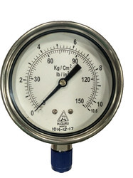 H.guru 100mm All Ss Pressure Gauge, Bottom/back Mount