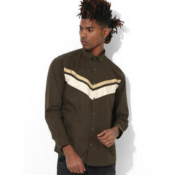Mens Full Sleeve Olive Clubwear Shirt