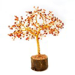 Beautiful Orange Color Onex Stone Decorative Table Tree