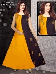 Rayon Sleeveless Long Gown