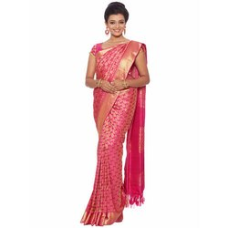 Fancy Pink Bridal Brocade Saree