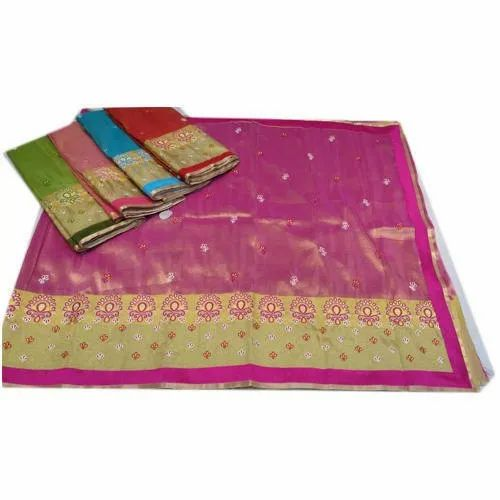 Party Wear Printed Katan Silk Saree, 6 m (with blouse piece)