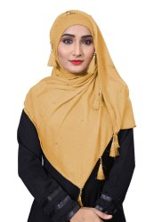 Daily Wear Hosiery Cotton Plain Pearl Tassel Work Scarf Hijab For Women, Size: Free Size