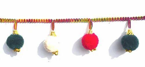 Refratexindia Acrylic Pom Pom Lace, Use: Garment