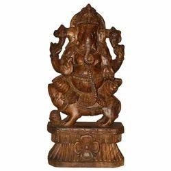 Wooden Sitting Ganesha Statue