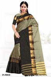 0bec96d153 Party Wear Zari border design Megha checks silk saree