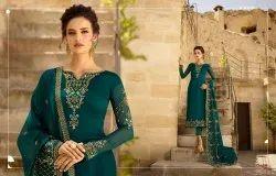 Trendy Georgette Satin Embroidered Party Wear Salwar Kameez