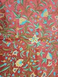 Traditional Red Velvet Embroidered  Danzdar Crewel Fabric