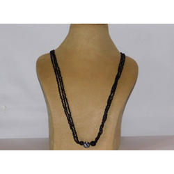 Three Beads Long Pottery Necklace