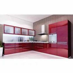 Wooden L Shape 3 Feet Acrylic Modular Kitchen, Warranty: 5 Years
