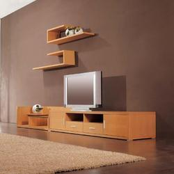 Brown Wooden Wall Mounted Designer TV Unit