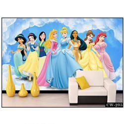 Vinyl 3D Disney Princess Vertical Wallpaper, Thickness: 0.5 Mm