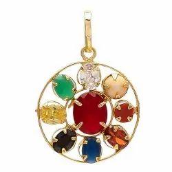 Synthetic Navratan or Navgrah Rhodium Gold Plated pendant