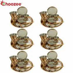 Choozee - Copper Thali Set of 6 (48 Pcs) Plate, Bowl, Spoon & Matka Glass