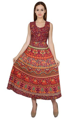 Rajasthani Traditional Elephant Printed Long Red Frock 9026d1670
