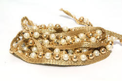 Gold Beaded Pearl Trim Embellishment Apparels Trim Decoration Lace