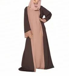 Brown & Peach Open Trench Jilbab