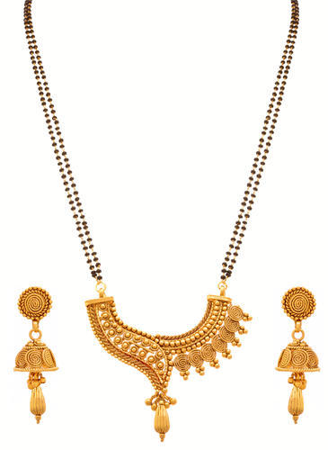 f66b3824c788d Jfl One Gram Gold Plated Spiral Mangalsutra Jewellery Set