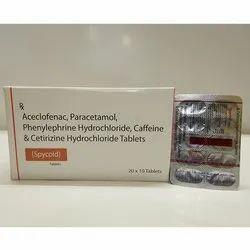 Aceclofenac, Paracetamol, Phenylephrine Hydrochloride Caffeine And Cetirizine Hydrochloride Tablets