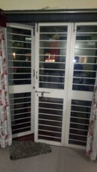 White Galvanized Iron Four Leaf French Door, For Home