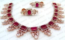 Kumar Jewels Sleek Girlish Prom Party Wear Ruby Artificial Fashionable Necklace Set