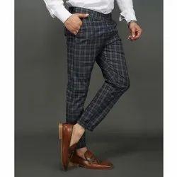 Cotton Men Black Check Trousers, Size: 28-36
