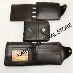 Kartar Black Leather Mens Wallet, For Gift, Card Slots: 3-5