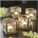 Transparent With Golden Frame And Designer T Light Candle Holders, Shape: Square