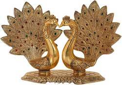 Gold Plated Loving Dancing Peacocks