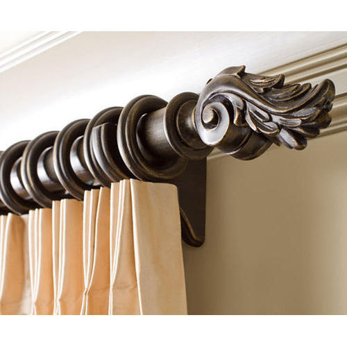 Brown Wooden Designer Curtain Rod