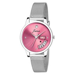 Women Round Dial Mesh Chain Day and Date Watches