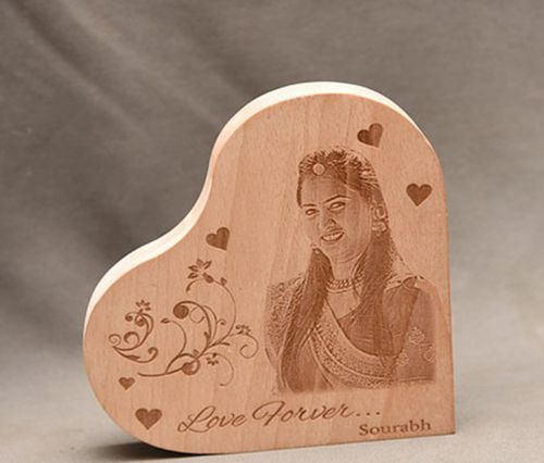 Engraved Wooden Plaque Heart Shape