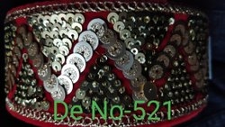 Sequence Work Red Zari Embroidery Lace, For Garment, 9 Meter