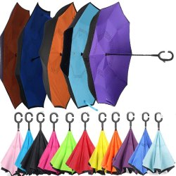 Reverse Windproof Umbrella With C-Shaped Hands