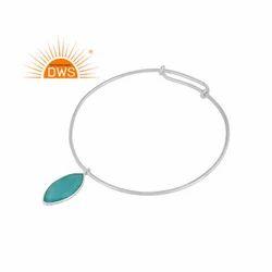 Sterling Fine Silver Designer Aqua Chalcedony Gemstone Sleek Bangles