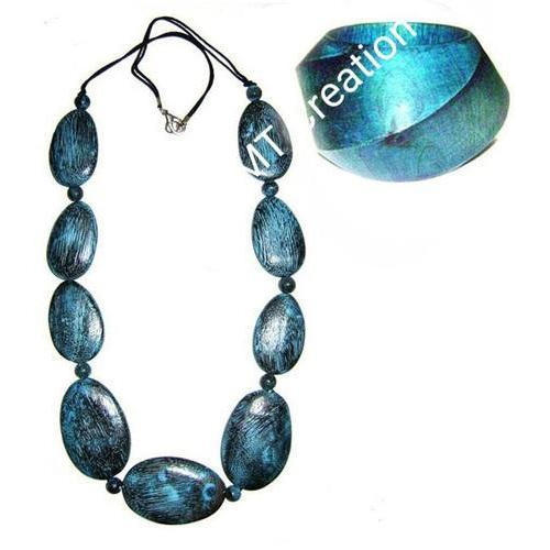 MTC Blue Stoned Necklace And Earrings Set