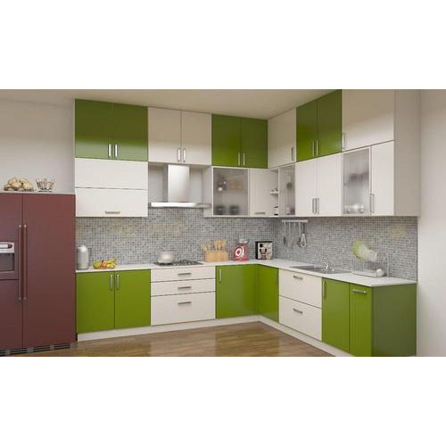White And Green L Shaped Modular Kitchen Cabinet Rs 60