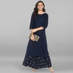 Janasya Women's Navy Blue Rayon Kurta With Palazzo (SET083)