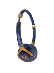 Motorola Blue & Gold-Toned Wired Pulse 3 Over-Ear Headphones