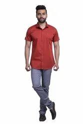 Cotton Satin Plain Orange Half Sleeve Shirt, Size: M To Xxl