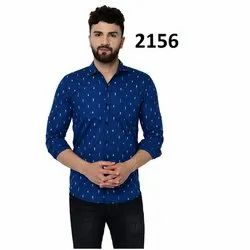 Collar Neck Mens Regular Fit Printed Shirt, Size: Available In M,L and XL