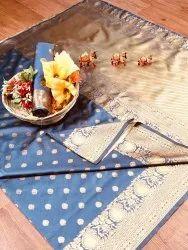Banarasi Silk Casual Wear Light Sky Blue Saree With Blouse Piece