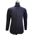 Mens Regular Fit Black Plain Shirt
