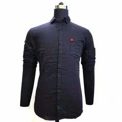 Mens Cotton Regular Fit Plain Black Shirt, Size: M-2XL