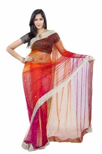 d3bf41cd553ba0 All Sizes Plain Zari Handwork Lace Border Saree With Blouse, Rs 1300 ...