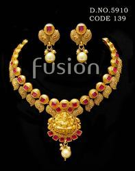 Traditional Matt Polish Indian Wedding Necklace Set