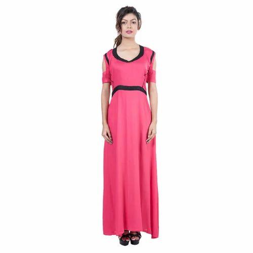 567cc35e6a69 Red And Black Mamosa Rayon Maxi Dress